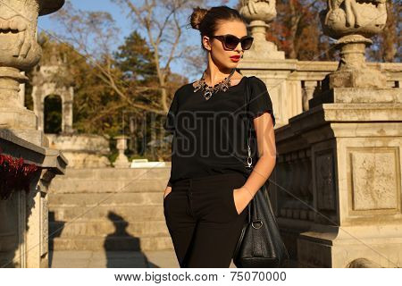 Beautiful Girl With Dark Hair In Elegant Clothes Posing In Autumn Park