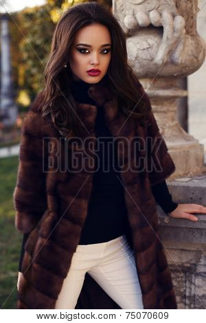 Beautiful Woman With Dark Hair In Luxurious Fur Coat
