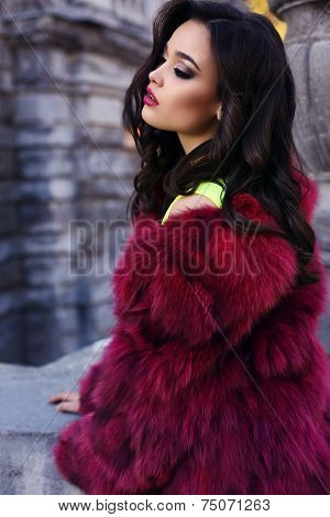 Beautiful Sexy Woman With Dark Hair Wearing Fashion Fur Coat