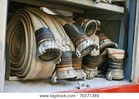 fire hoses equipment in firetruck