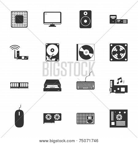 Computer Peripherals And Parts Black And White Flat Icons Set