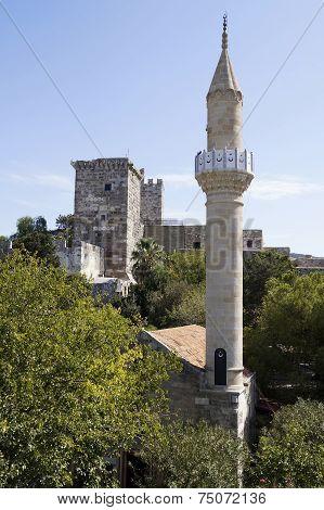 Minaret In St Peter's Castle In Bodrum