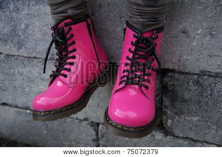 Pink punk alternative girl or woman shoes - sitting tough