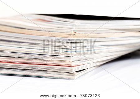 Magazines Up Close Shot On White Background