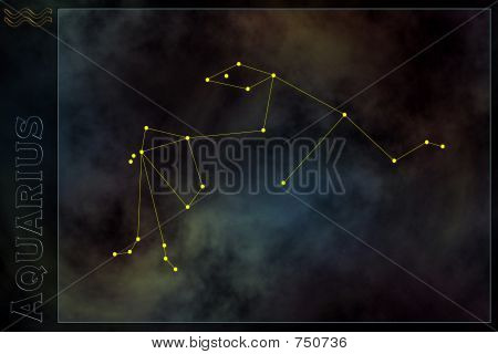 Zodiac constellation - Aquarius. Stars on the Nebula like background