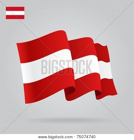 Flat and waving Austrian Flag. Vector