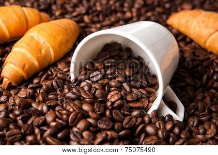 Inverted Cup With Coffee Beans