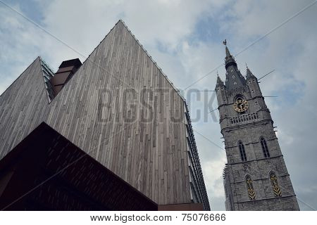 City Market Hall With Belfry Of Ghent In Belgium
