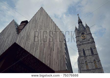 City Market Hall With Belfry Of Ghent In Belgium