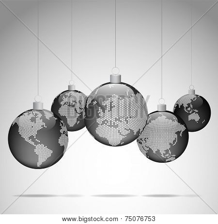 Christmas balls with world dotted maps - Christmas travel - Gray ver.  Vector eps10