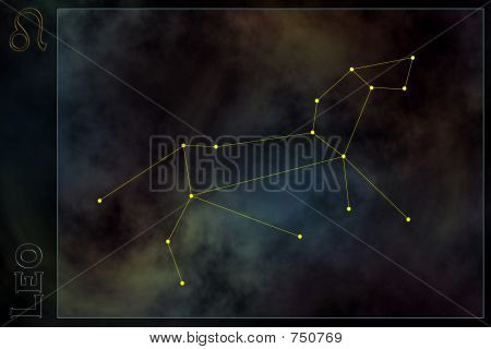 Zodiac constellation - Leo. Stars on the Nebula like background