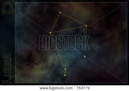Constelación del zodiaco - Libra. Estrellas en la nebulosa como fondo