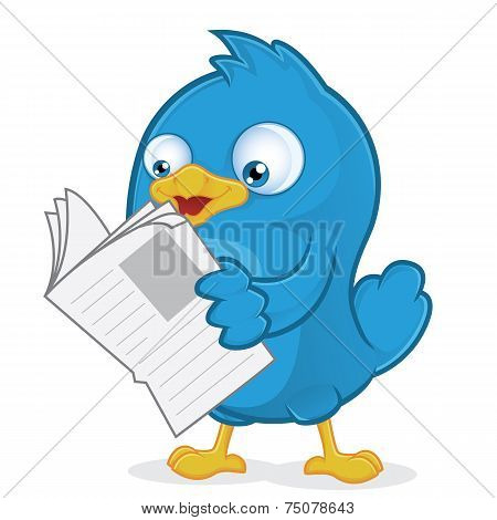 Blue Bird Reading a Newspaper