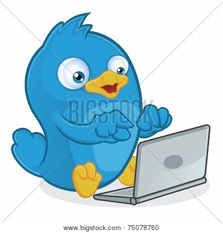 Blue Bird with Laptop