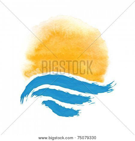 The sun and the sea. Vector icon illustration