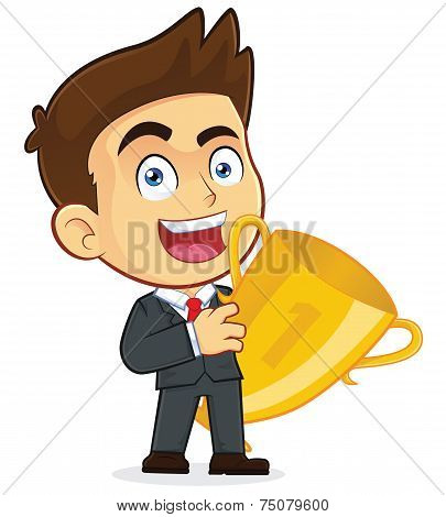 Vector Businessman Holding a Trophy Cup