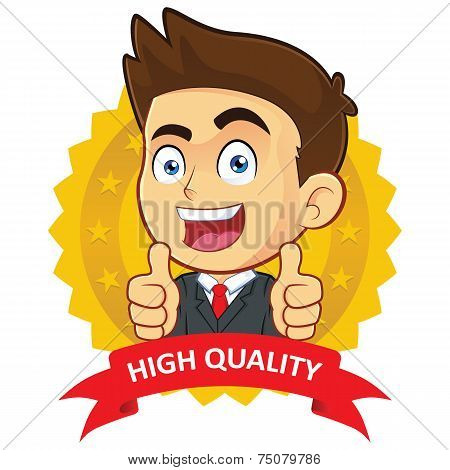 Businessman with Guarantee Icon