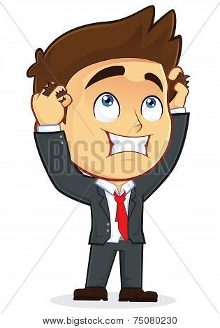 Despair Businessman Holding Head