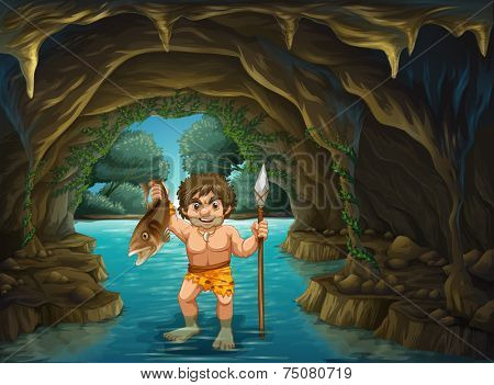 illustration of a caveman catching fish