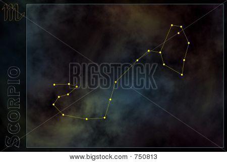 Constelación del zodiaco - escorpión. Estrellas en la nebulosa como fondo