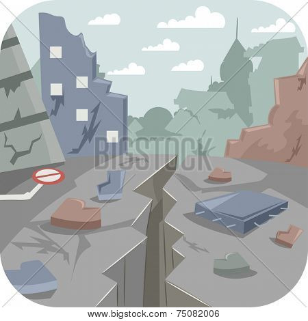 Illustration Featuring a City Devastated by an Earthquake