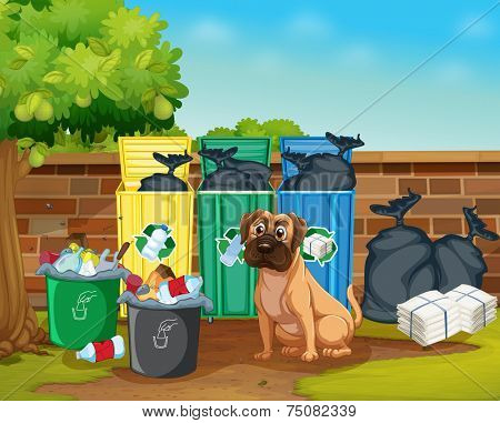 Illustration of rubbish and dog