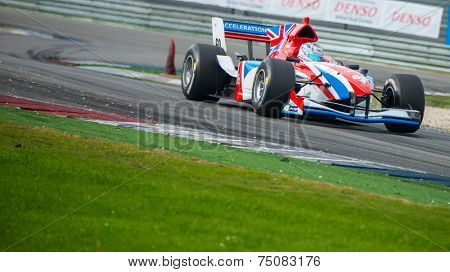 ASSEN, NETHERLANDS - OCTOBER 19, 2014: Dani Clos, the spanish driver for the British Formula A1 team races through the chicana at the TT Circuit Assen