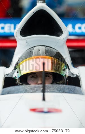 ASSEN, NETHERLANDS - OCTOBER 19, 2014: Formula A1 driver waits on the starting grid before the final race of Acceleration 2014