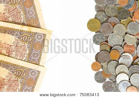 Thai Baht Coins And Kip Is The Currency Of Laos Background