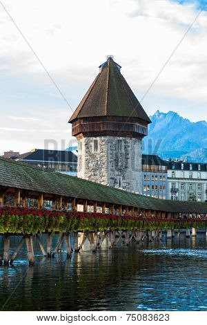 view of wooden Chapel bridge and old town of Lucerne, Switzerland