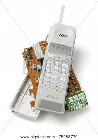 Wireless Telephone Handset And Components On White Background