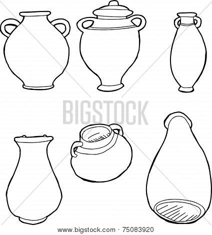 Outlined Greek Vases