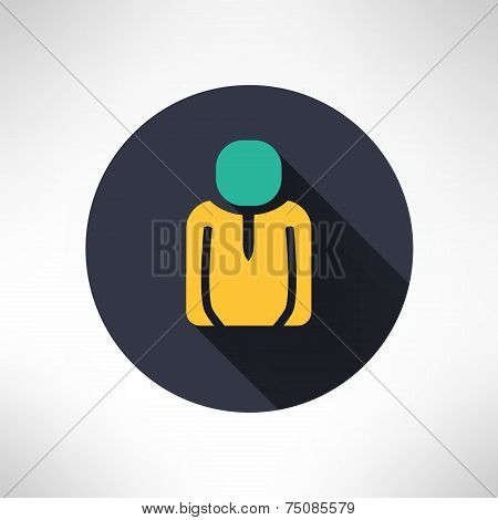 Man icon in modern flat design. Person silhouette with lond shadow. Vector illustration