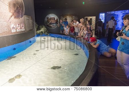 Antalya, Turkey-1 September 2014. People in the  aquarium. IT  is  longest of  world panoramic tunne