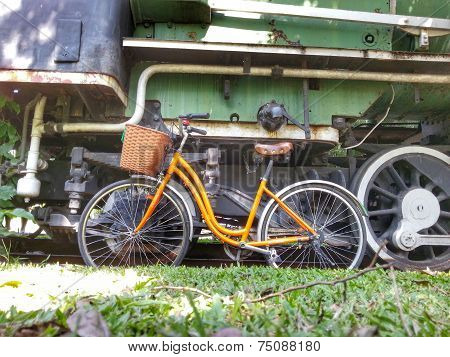 Bicycle and old train H.D.R.