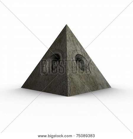 3D Pyramid Grunge Old Speaker Sound System