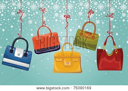 Women's handbags on ribbons, snowflakes.Winter fashion