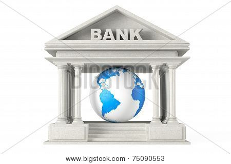Bank Building With Earth Globe