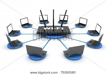 Laptops Around Wifi Router