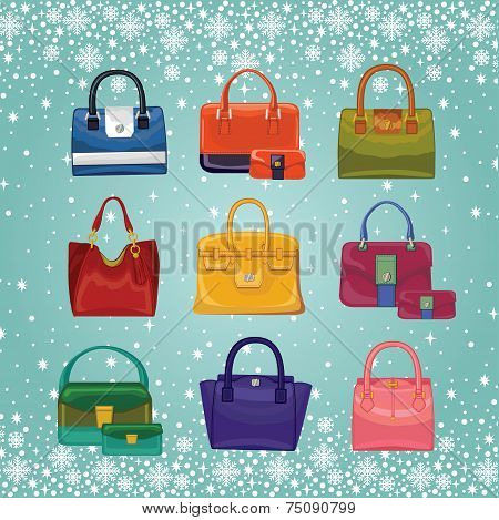 Coloured fashion women's handbags.Winter background