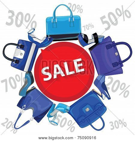 Blue fashion women's handbag,high heel shoes.Sale