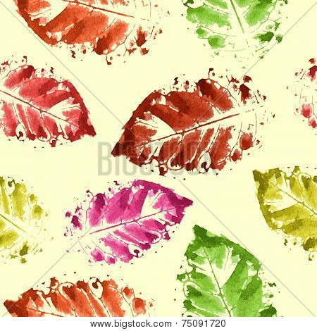 Colorful Autumn Leaves. Watercolor.