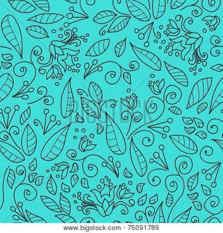 Spring, Summer Floral Background, Seamless Pattern, Executed In Shades Of Blue