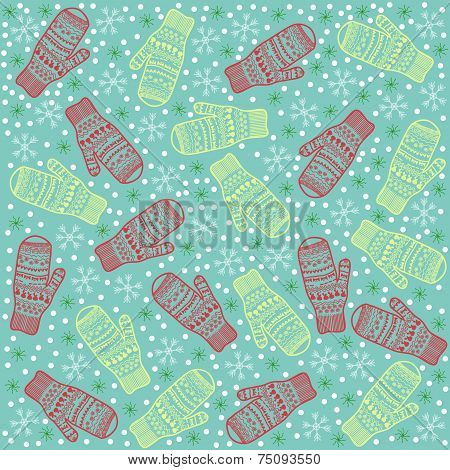 Christmas Background Mittens