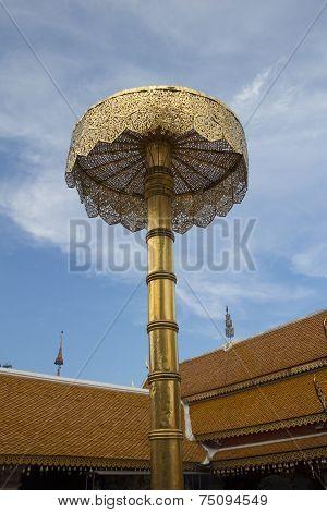 Golden umbrella in Lanna temple