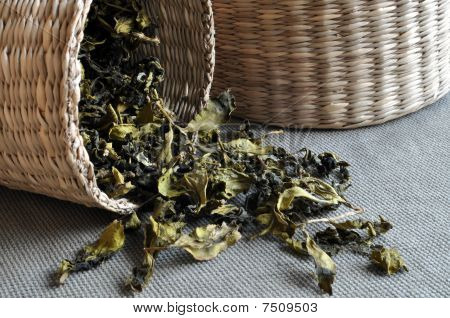 Baskets of tea leaves
