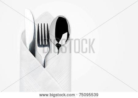 Knife, Fork, Spoon Isolated On White.