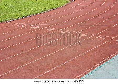 Athletics Track In Stadium