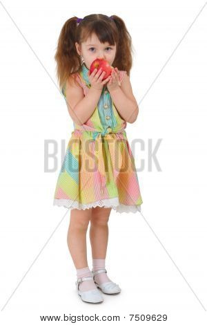 Sad Little Girl To Eat Apple On White Background