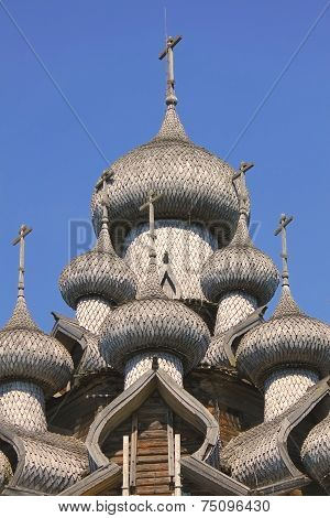 Details Of The Domes (transfiguration Church). Kizhi Pogost In Russia